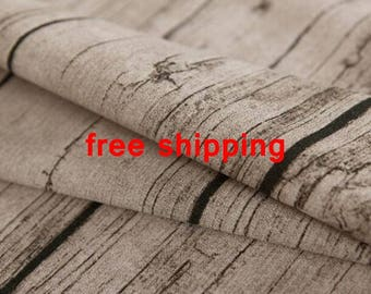 "Free shipping- Vintage Wood Grain fabric,  Linen cotton fabric, Curtains fabric for 5m - (yisi)-59""(150cm)wide"