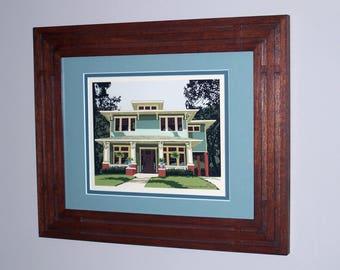 Unique Craftsman Frame-Prairie Style Frame-Mahogany Frame-Home Sweet Home