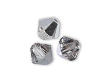 20 bicones 4mm crystal Swarovski comet silver Swarovski Crystal light