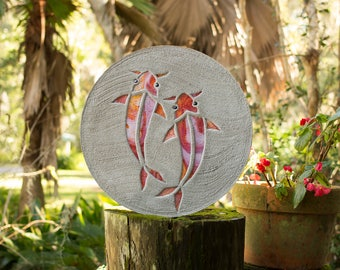 Koi Fish Goldfish Stepping Stone Made of Stained Glass and Concrete Perfect for Your Garden Patio or Back Yard Fish Pond or Pool Path #756