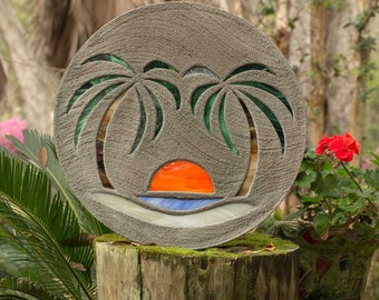 "Beach Scene Stained Glass Stepping Stone Concrete 18"" Diameter with Palms & Sun, Perfect for Your Garden Path Patio, Backyard Fish Pond #808"