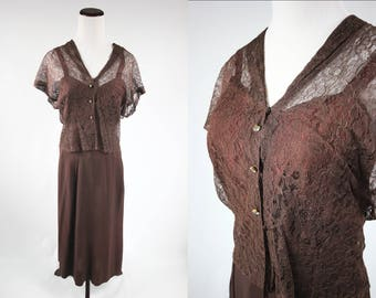 1930's Brown Lace Jacket + Cami + Skirt Set