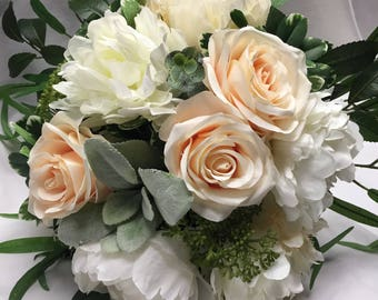 Wedding Bouquet and Coordinating Boutonnière in Peach and Creme White