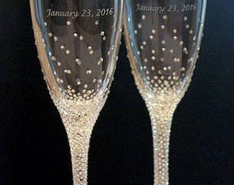 Champagne Wedding Flutes, Set of 2, Wedding glasses, Bride and Groom, Swarovski Crystals, Brilliant Wedding, champagne glasses, hand painted
