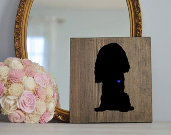 Hand Painted Cavalier King Charles Spaniel Silhouette on Stained Wood, Dog Decor, Painting, Gift for Dog People, New Puppy Housewarming Gift