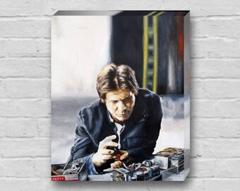Solo Fixin' - Han Solo / Harrison Ford Fixing Millennium Falcon Star Wars Empire Strikes Back Hoth Canvas Art Print