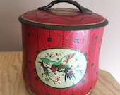 Vintage Red Tin with Flowers & Birds