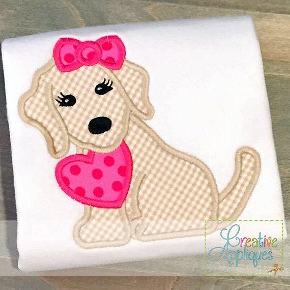 Girl Puppy Dog Valentine, Dog Heart Valentine Shirt, Puppy with Heart Valentine Tee, Dog Heart Applique