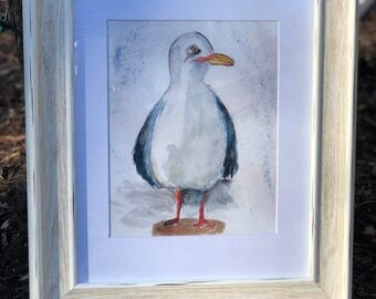 Watercolor Seagull Print in Whitewashed Beachy Frame