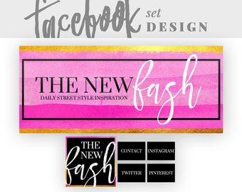 Facebook Page Banner | Facebook Cover Design | Facebook Timeline Cover Graphics | Social Media Branding Design | Gold and Pink Header Design