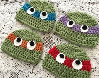 Teenage Mutant Ninja Turtles {inspired} beanies-Newborn-Teen Sizes-Crochet