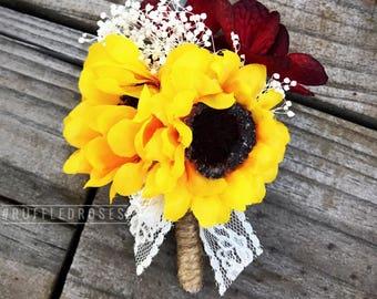 Burgundy Sunflower Boutonniere, Sunflower Boutonniere, Sunflower Buttonhole, Sunflower and Burgundy, Rustic Boutonniere