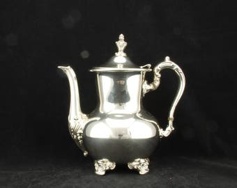 Vintage Silverplated Poole Silver Company EPCA Tea Pot with hinged lid, made in the USA, tea kettle, tea set, coffee pot, shell pattern