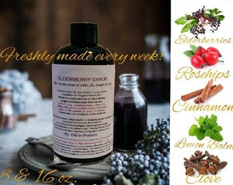 Elderberry Syrup - ORGANIC Cold, Cough & Flu Syrup. Elderberry Syrup Immunity Booster, Elderberry Syrup- 8 and 16 oz Cheaper than Amazon!