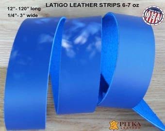 "Royal Blue Leather Strips -  Designer Leather Strip Royal Blue - Latigo Leather Strips 6-7 oz up to 120"" long -DIY Craft Leather Strips Blue"