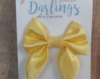 SALE! 30% OFF**Sailor Hair bow, Toddler hair bow, Baby hair bow, Teen hair bow, Girl Hair bow- yellow