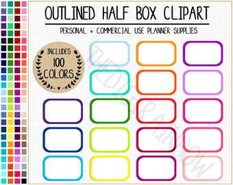 SALE 100 OUTLINED HALF box stickers blank half box printable planner stickers rainbow half box bright Erin Condren planner clipart stickers