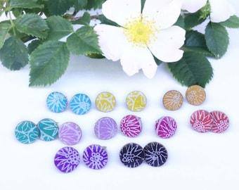 Bright stud earrings, rainbow colour earrings, minimal jewellery, art jewellery, handmade, resin jewellery, silver, contemporary jewellery