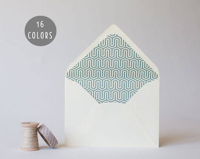 geometric lined envelopes (16 color options) - sets of 10  // modern envelope liners wedding shower party invitation invite