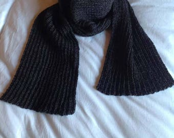 Scarf hand knitted dark gray color