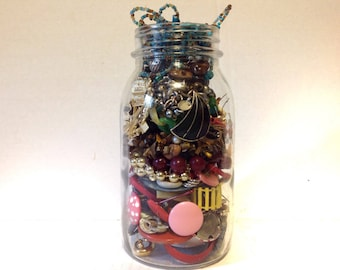 Jar of Jewelry Vintage Assemblage  Lot is all in Photo Junk Drawer