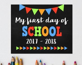 First Day of School Chalkboard Sign Pack, Back to School, First Day Printable, First Day Photo Prop, 1st Day, Preschool, Kindergarten, Boy