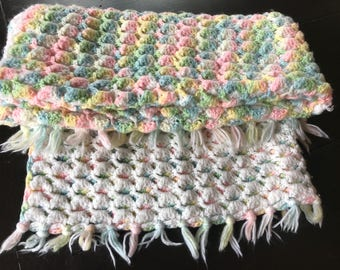 Vintage Reversible White and Pastel Hand Crocheted Baby Afghan/ Blanket