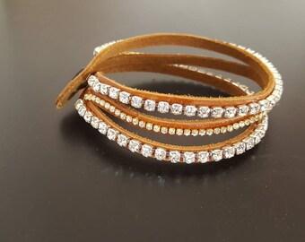 leather bracelet with rhinestones
