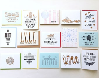 15 Letterpress Cards *SECONDS*