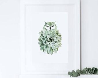 Owl art print, owl illustration, owl wall art, nursery home decor, child bedroom wall art, cactus art print, succulent print, bedroom decor