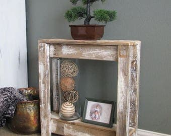 Lovely SALE Heavily Distressed White Farmhouse Accent Table