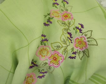 Tablecloth Vintage Handsewn , Large Square, Excellent