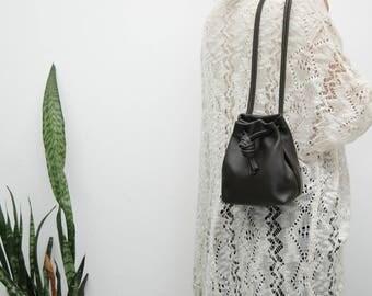 Black  leather bucket, leather cinch sack.,hobo bag,black leather pouch, black handbag,supple leather,soft leather