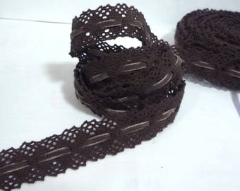 5 yds - 20 yds Dark Brown Cotton Crochet Lace with Velvet Ribbon  1 inch / 2.54cm width  L582