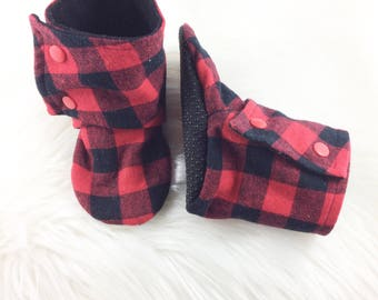 Red Plaid Tall Booties, Softsole Tall Booties, Booties, Baby Booties, Baby Shoes