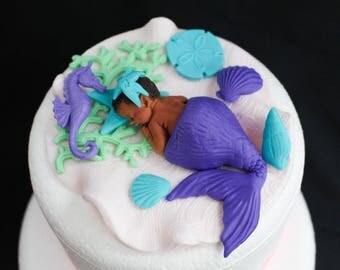 Mermaid Baby Shower Cake Topper Girl Purple Lavender 3D Edible Fondant Sea  Shells Mermaid Baby Shower