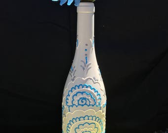 Cream Light Blue White  - Hand Painted Wine Bottle - Vase - Decorative Olive Oil Holder - decorative wine bottle - bar decor