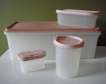 Vintage Tupperware Modular Mates Storage Containers - Set of Four Asst. Pieces w/ Pink Lids