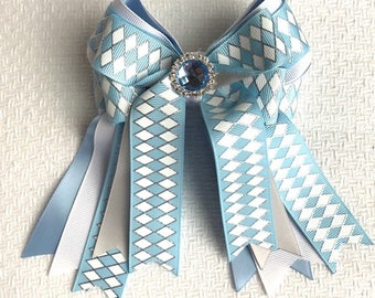 SHORTY Horse Show Bows/beautiful holiday gift/blue sparkle gem