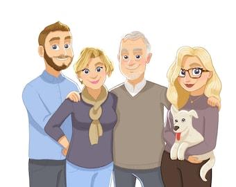Custom Family Portrait Illustration & Print