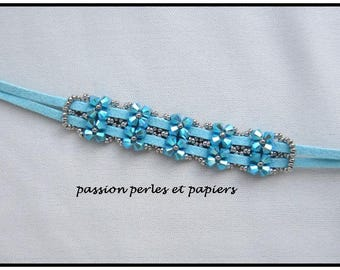 turquoise suede and Crystal bracelet