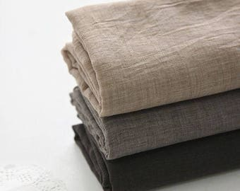 Single Washed Cotton Gauze Fabric by Yard - Beige, Brown, Dark Brown Cotton Gauze