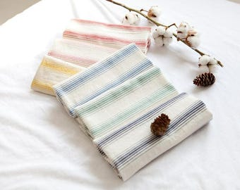 Stripe Pattern Washing Cotton Fabric by Yard - 6 Colors Selection