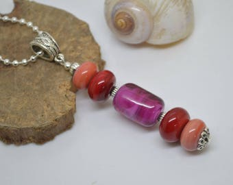 Necklace 55 cm beads glass Lampwork coral red fuchsia chain Silver 925 necklace pink