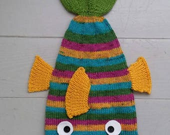 RTS Knit fish hat in yellow, turquoise and green/ hand made hat for kids, teens and adults