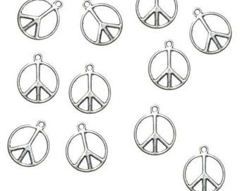 Set of 5 charms in Peace and Love silver metal
