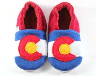 Colorado Gifts- Colorado Flag- Colorado Baby- Toddler Slippers- Baby Gifts- Kids Slippers- Eco Friendly- Classroom Shoes- Mommy and Me