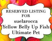RESERVED LISTING for suelarocca Yellow Belly Up Fish Ultimate Pet, Fish in a bag, vegan.