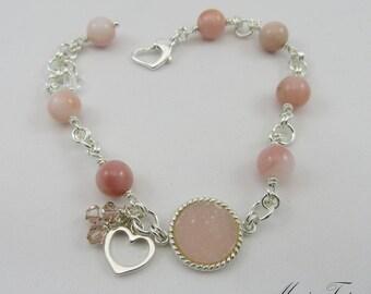 Pink Peruvian Opal & Druzy agate bracelet