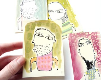 perfect unshaved men collection, original miniTrash drawings, set of 4